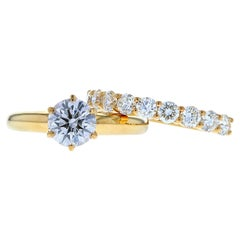 Six Prong Crown Basket Diamond Engagement Ring in Yellow Gold