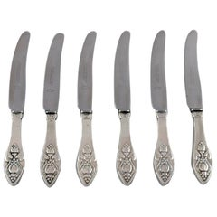 Six Rare and Antique Georg Jensen Bell Lunch Knives, 1910s