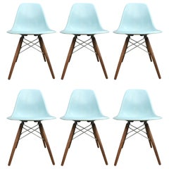 Six Rare Herman Miller Eames Dining Chairs in Robin's Egg Blue