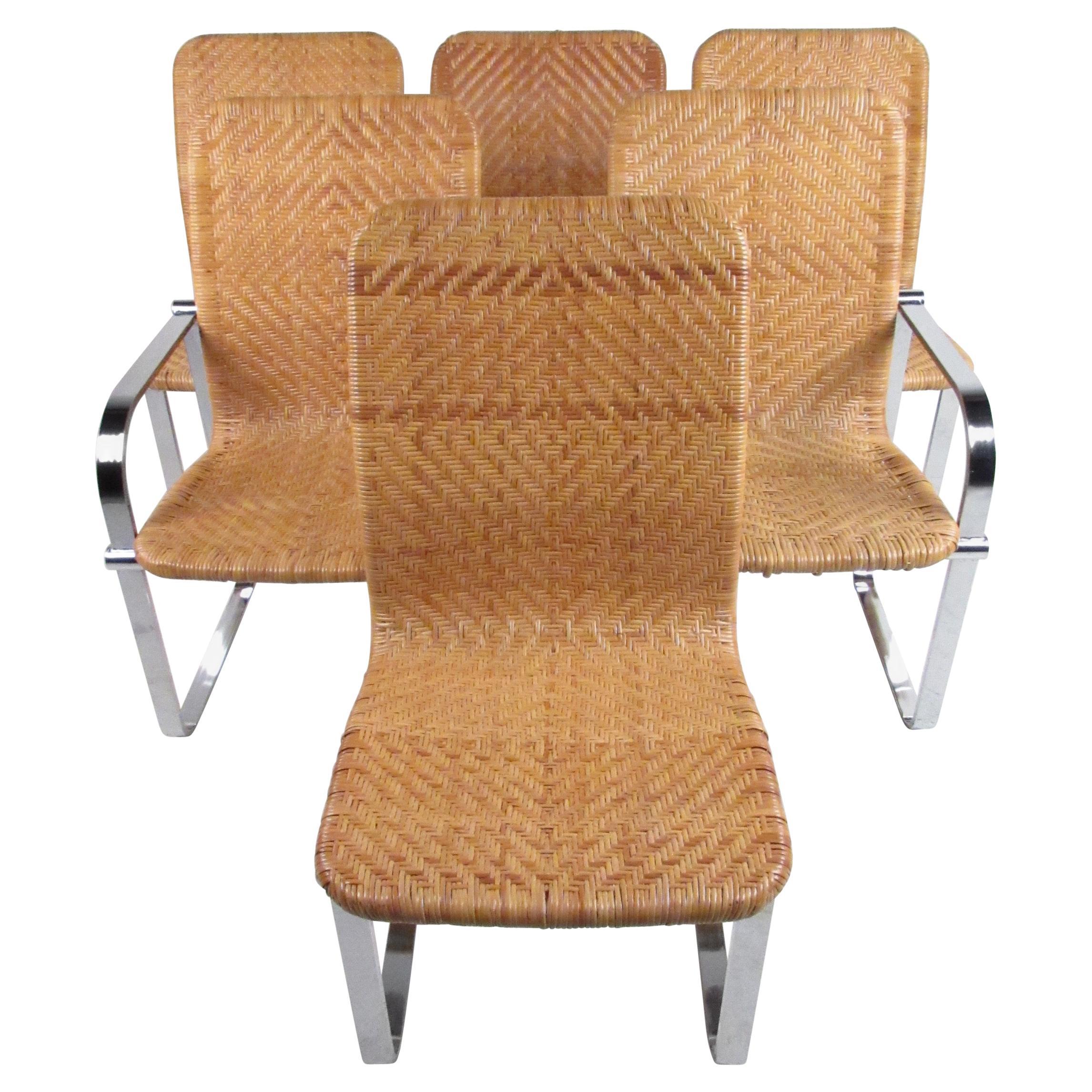 Six Rattan & Chrome Dining Chairs