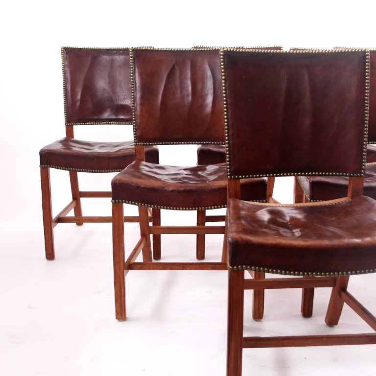 Scandinavian Modern Kaare Klint - Six Early Red Chairs in Cuban Mahogany and Niger Leather For Sale