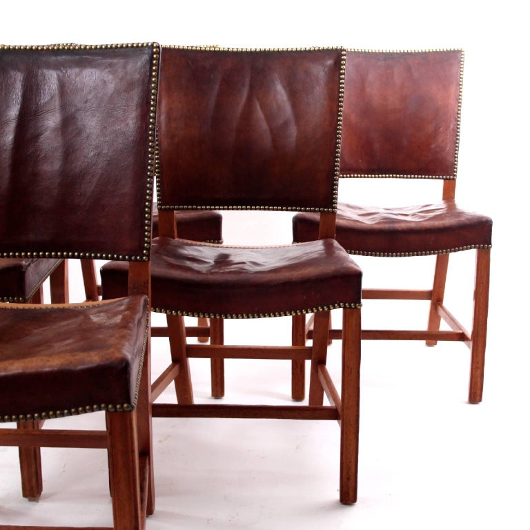 Danish Kaare Klint - Six Early Red Chairs in Cuban Mahogany and Niger Leather For Sale