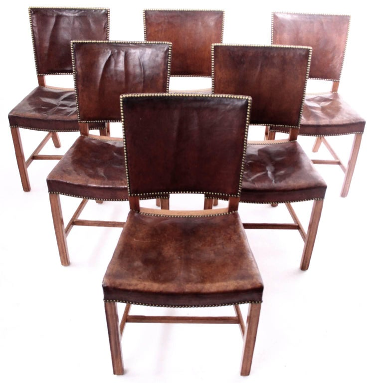 Kaare Klint - Six Early Red Chairs in Cuban Mahogany and Niger Leather In Good Condition For Sale In Copenhagen, Copenhagen