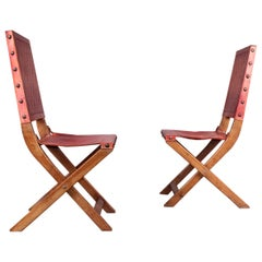 Six Red Leather and Wood Jacques Adnet Style Chairs