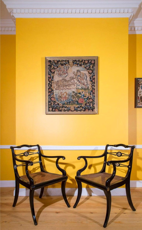 English Six Regency Ebonized Klismos Dining Chairs For Sale