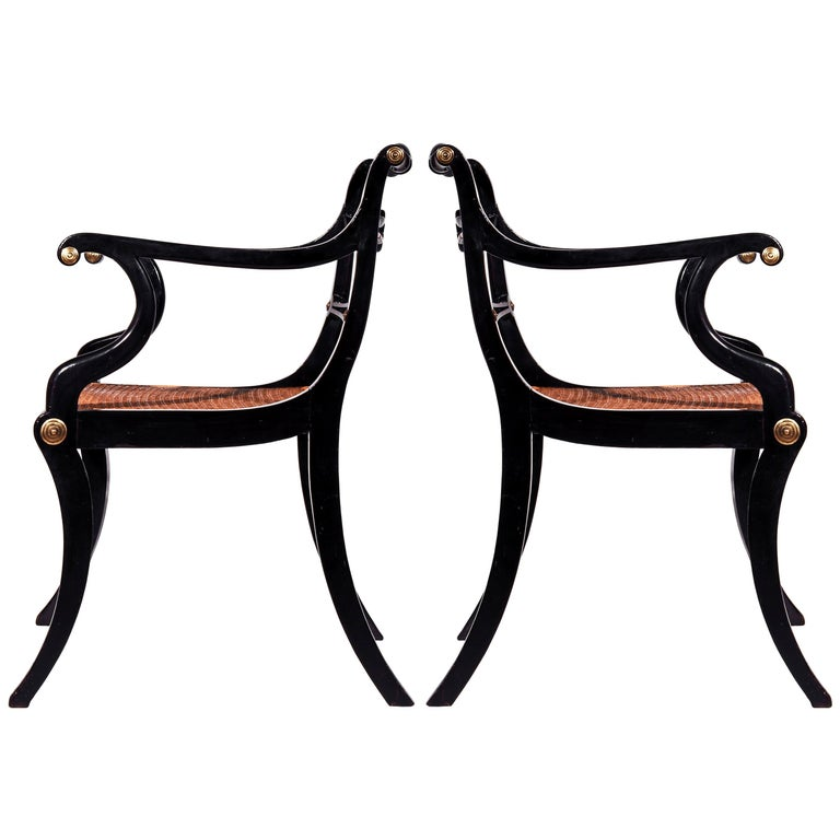 Six Regency Ebonized Klismos Dining Chairs In Good Condition For Sale In London, GB