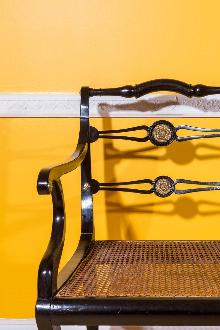 19th Century Six Regency Ebonized Klismos Dining Chairs For Sale