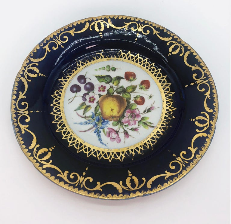 English Six Regency Hand Painted Porcelain Plates by Coalport, circa 1805 For Sale