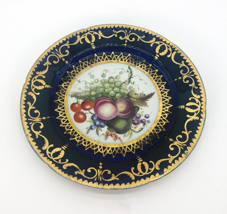 Hand-Painted Six Regency Hand Painted Porcelain Plates by Coalport, circa 1805 For Sale