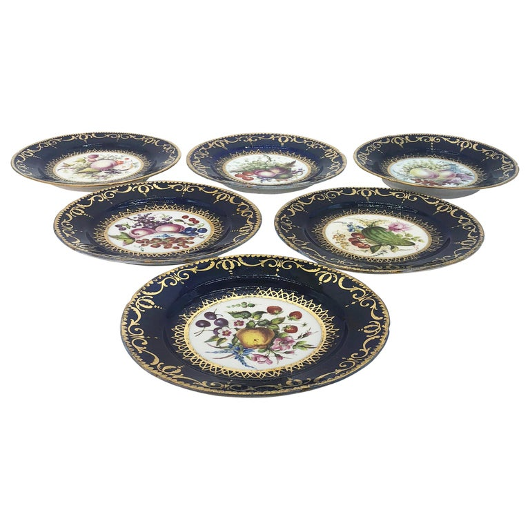 Six Regency Hand Painted Porcelain Plates by Coalport, circa 1805 For Sale