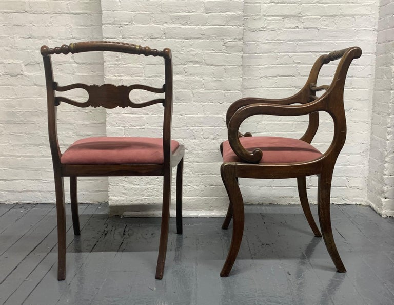 Six Rosewood English Regency Style Dining Room Chairs In Good Condition For Sale In New York, NY