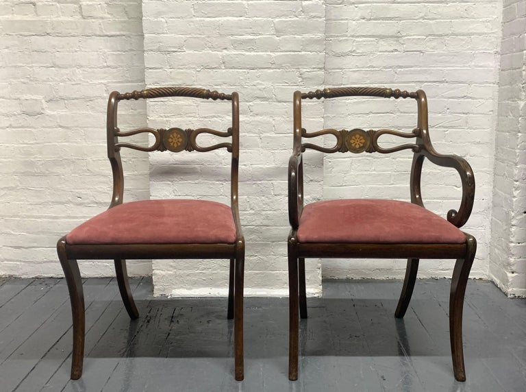 19th Century Six Rosewood English Regency Style Dining Room Chairs For Sale