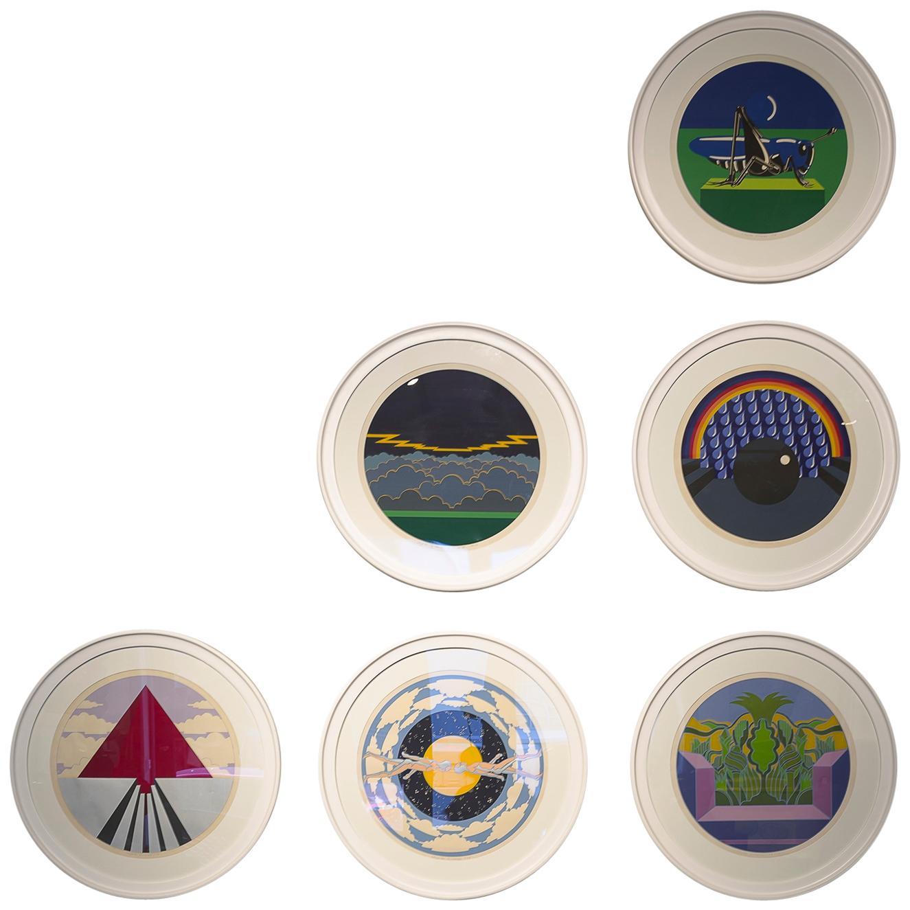 Six Round Framed Silk Screen by Edgardo Giménez, Argentina, 1973