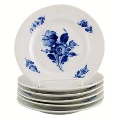 Six Royal Copenhagen Blue Flower Braided Cake Plates, 1940's