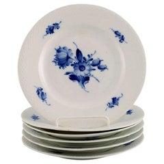 Six Royal Copenhagen Blue Flower Braided Plates, 1940s