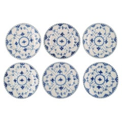 Six Royal Copenhagen Blue Fluted Full Lace Plates in Porcelain