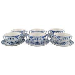 Six Royal Copenhagen Blue Fluted Half Lace Bouillon Cups with Saucers