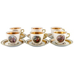 Six Royal Copenhagen Coffee Cups with Saucers in Porcelain with Romantic Scenes