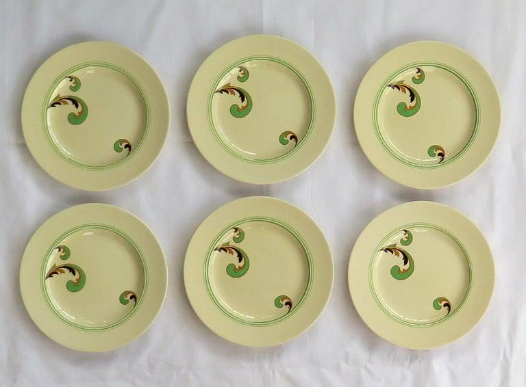 Glazed Six Royal Doulton Pottery Side Plates in Lynn Art Deco Pattern D5204, circa 1930 For Sale
