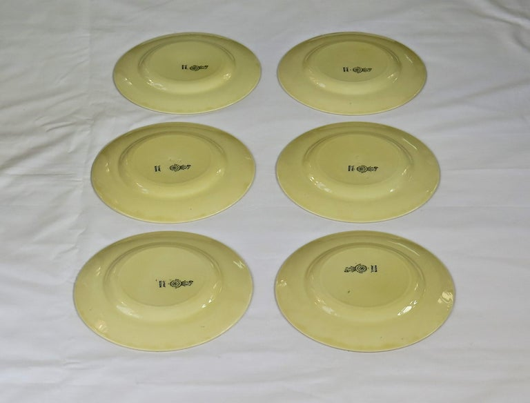 20th Century Six Royal Doulton Pottery Side Plates in Lynn Art Deco Pattern D5204, circa 1930 For Sale