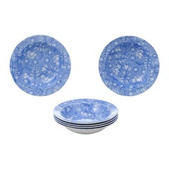 Six Royal Tudor Ware 1890s Blue and White Porcelain Bowls with Floral Pattern
