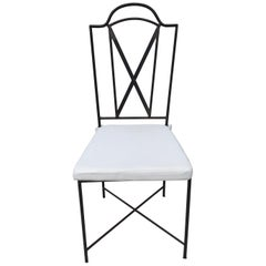 Six Salterini Handwrought Iron/ Bronze Patinated High Back Chairs