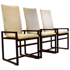 Six Saporiti 1980s Walnut Dining Chairs