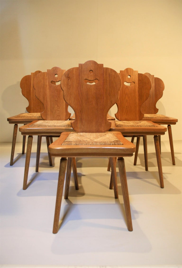 Six Scandinavian Midcentury Dining Chairs In Good Condition For Sale In Belgium, BE
