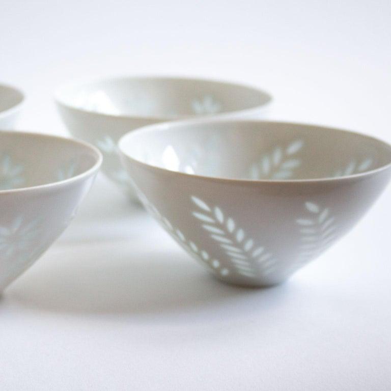 Six Scandinavian Modern Rice Grain Bowls by Friedl Holzer-Kjellberg, Arabia For Sale 3