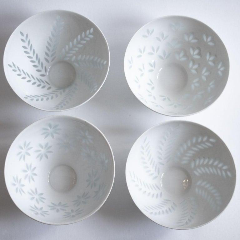 Hand-Crafted Six Scandinavian Modern Rice Grain Bowls by Friedl Holzer-Kjellberg, Arabia For Sale