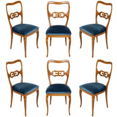 Six Sculptural Dining Chairs, Paolo Buffa Attributed Restored, Original Velvet