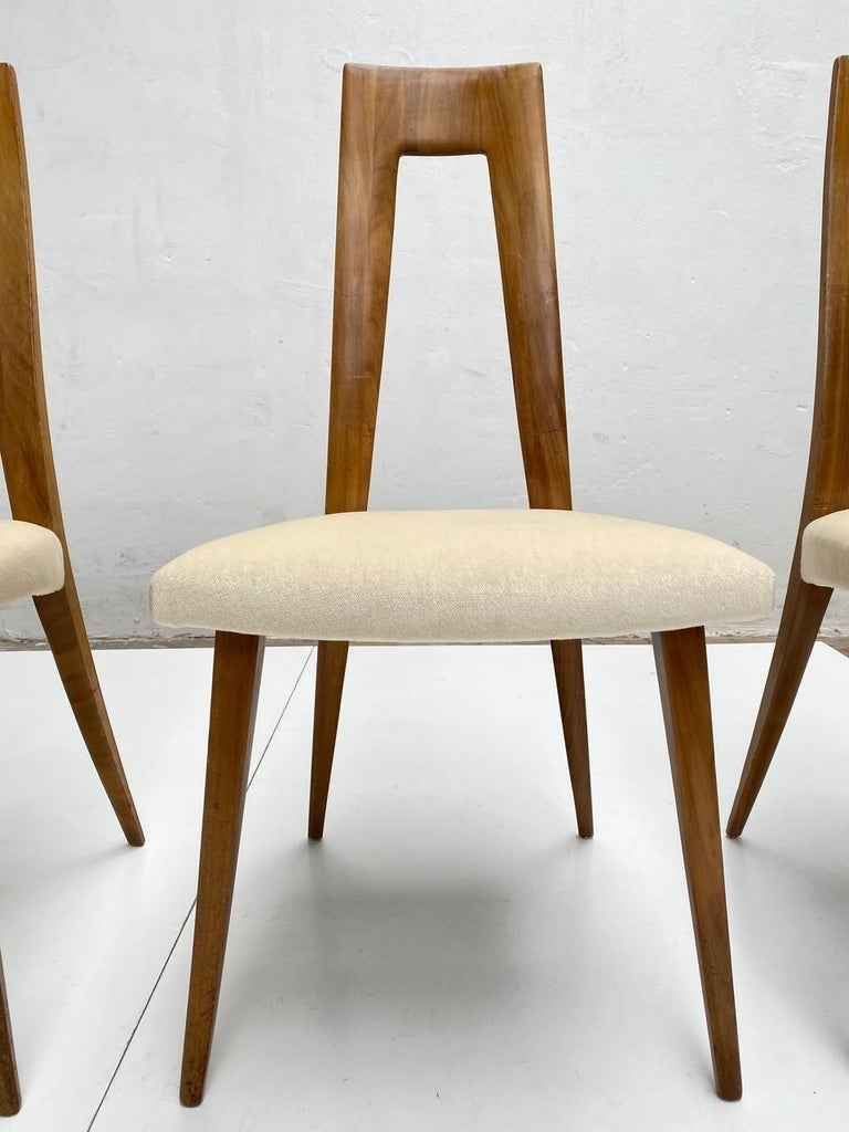 Six Sculptural Form 'Turin School' Walnut & Mohair Dining Chairs, Italy, 1940's For Sale 3