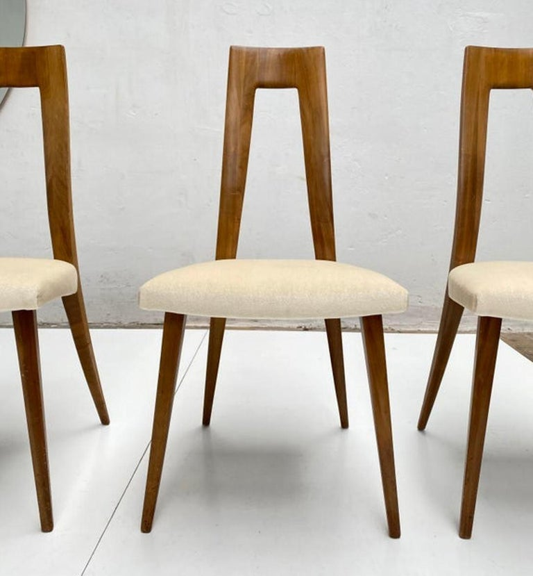 Six Sculptural Form 'Turin School' Walnut & Mohair Dining Chairs, Italy, 1940's For Sale 4