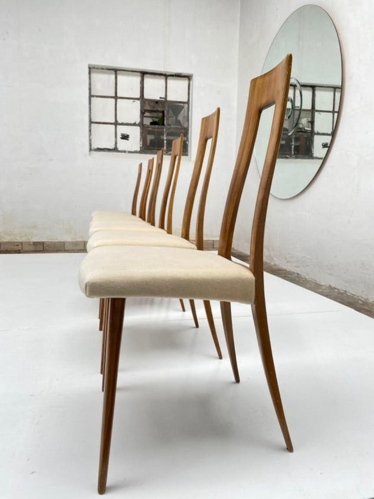 Six Sculptural Form 'Turin School' Walnut & Mohair Dining Chairs, Italy, 1940's For Sale 5