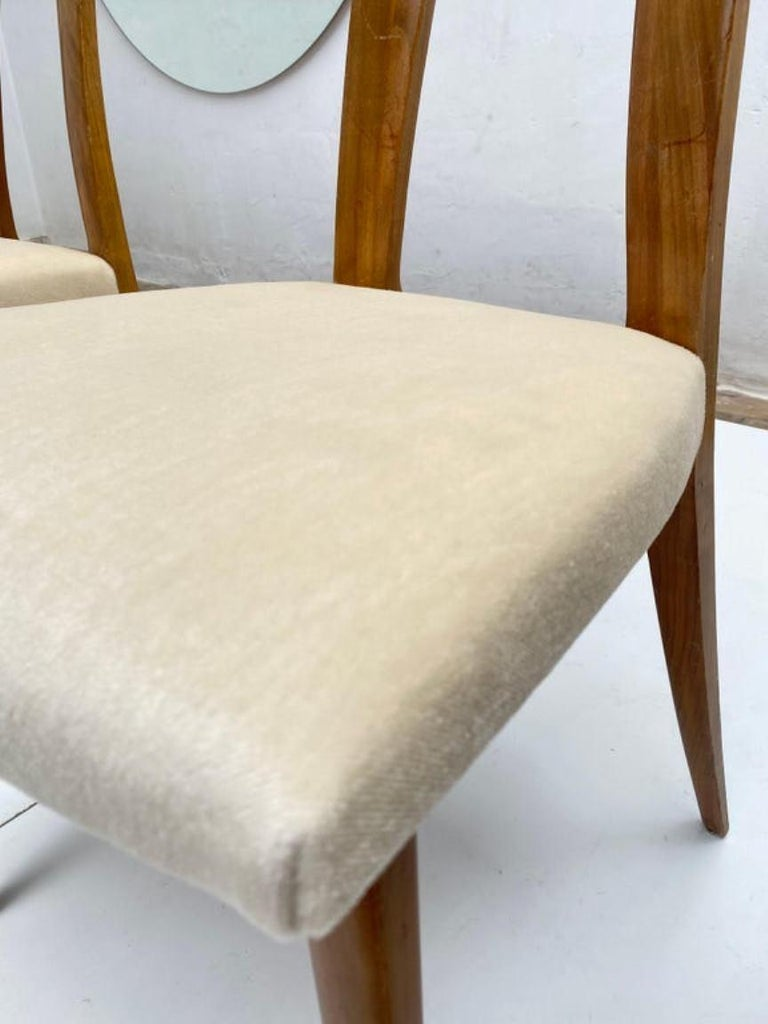 Six Sculptural Form 'Turin School' Walnut & Mohair Dining Chairs, Italy, 1940's For Sale 6
