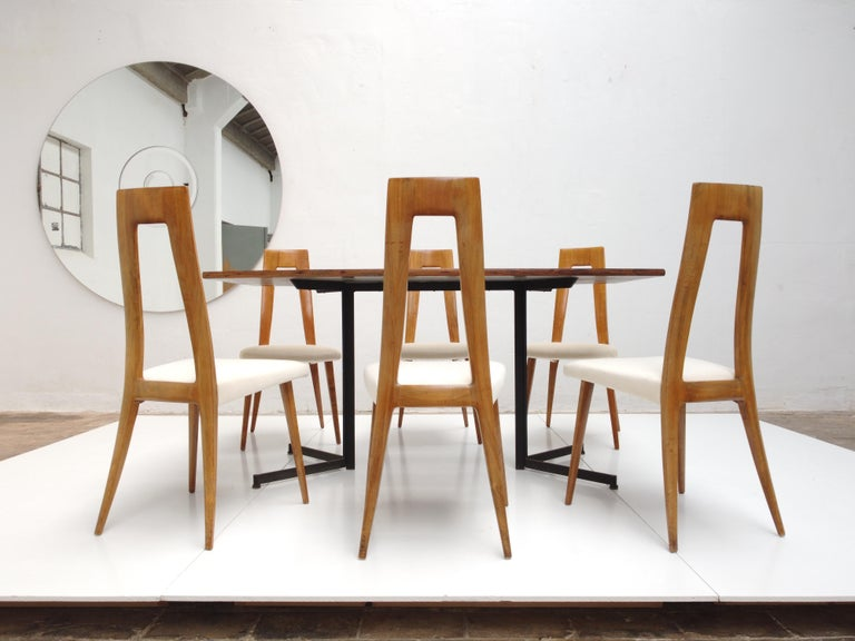 Six Sculptural Form 'Turin School' Walnut & Mohair Dining Chairs, Italy, 1940's For Sale 11