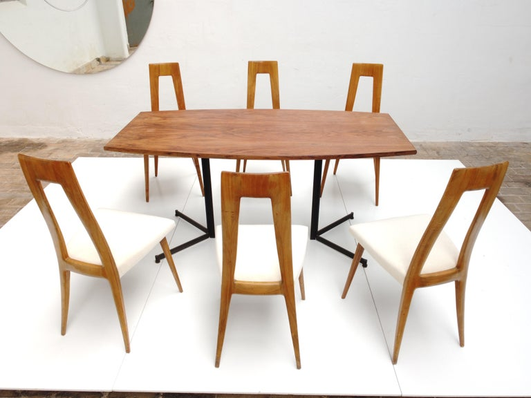 Six Sculptural Form 'Turin School' Walnut & Mohair Dining Chairs, Italy, 1940's For Sale 12