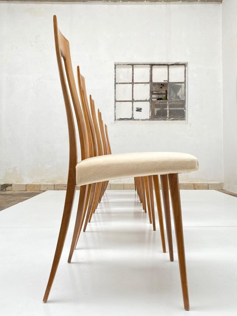 Beautiful and rare set of sculptural organic form dining chairs reminiscent of the Turin school of design, Italy circa 1940-50. The Turin design school made famous by the work of Carlo Mollino and his associates and pupils were known for their
