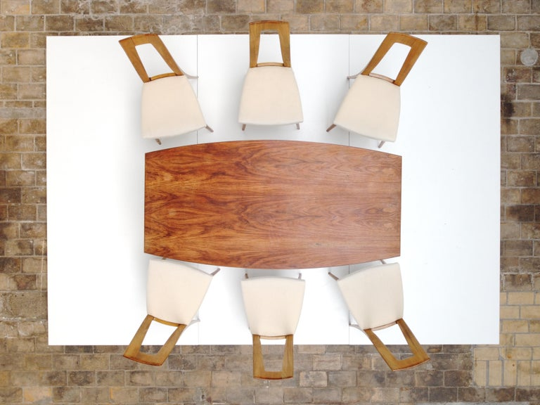 Six Sculptural Form 'Turin School' Walnut & Mohair Dining Chairs, Italy, 1940's For Sale 13