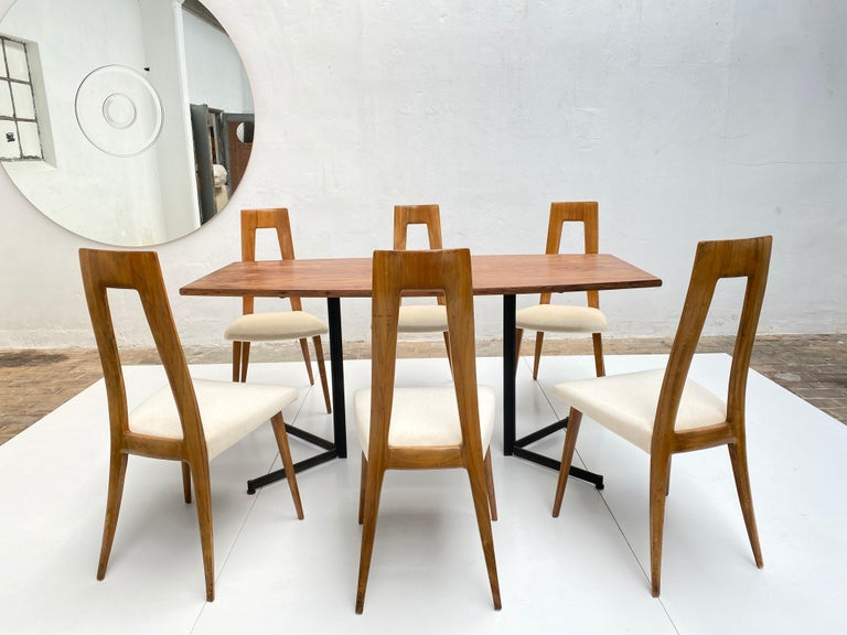 Mid-Century Modern Six Sculptural Form 'Turin School' Walnut & Mohair Dining Chairs, Italy, 1940's For Sale