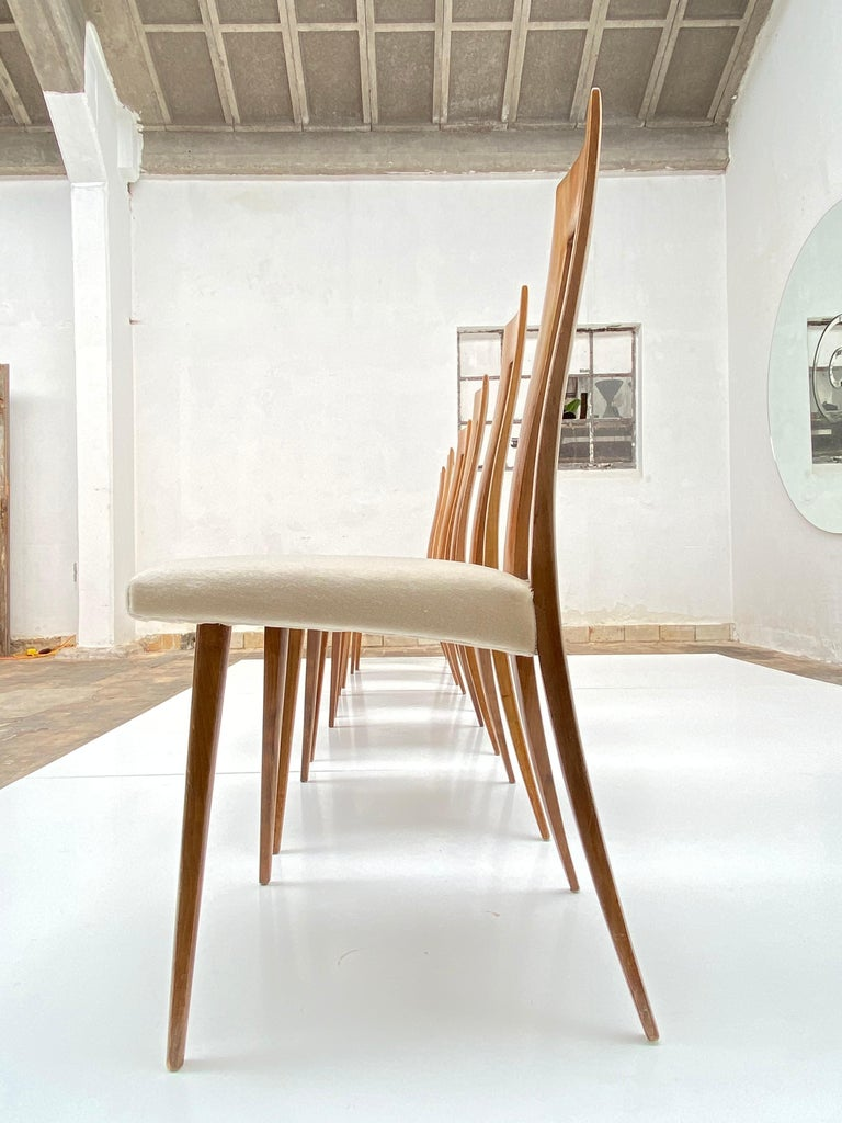 Italian Six Sculptural Form 'Turin School' Walnut & Mohair Dining Chairs, Italy, 1940's For Sale