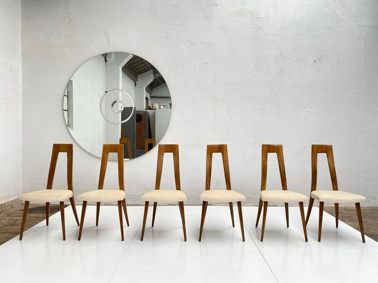 Hand-Crafted Six Sculptural Form 'Turin School' Walnut & Mohair Dining Chairs, Italy, 1940's For Sale