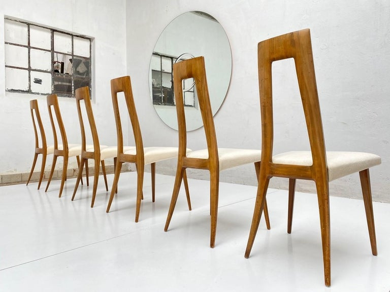 Mid-20th Century Six Sculptural Form 'Turin School' Walnut & Mohair Dining Chairs, Italy, 1940's For Sale