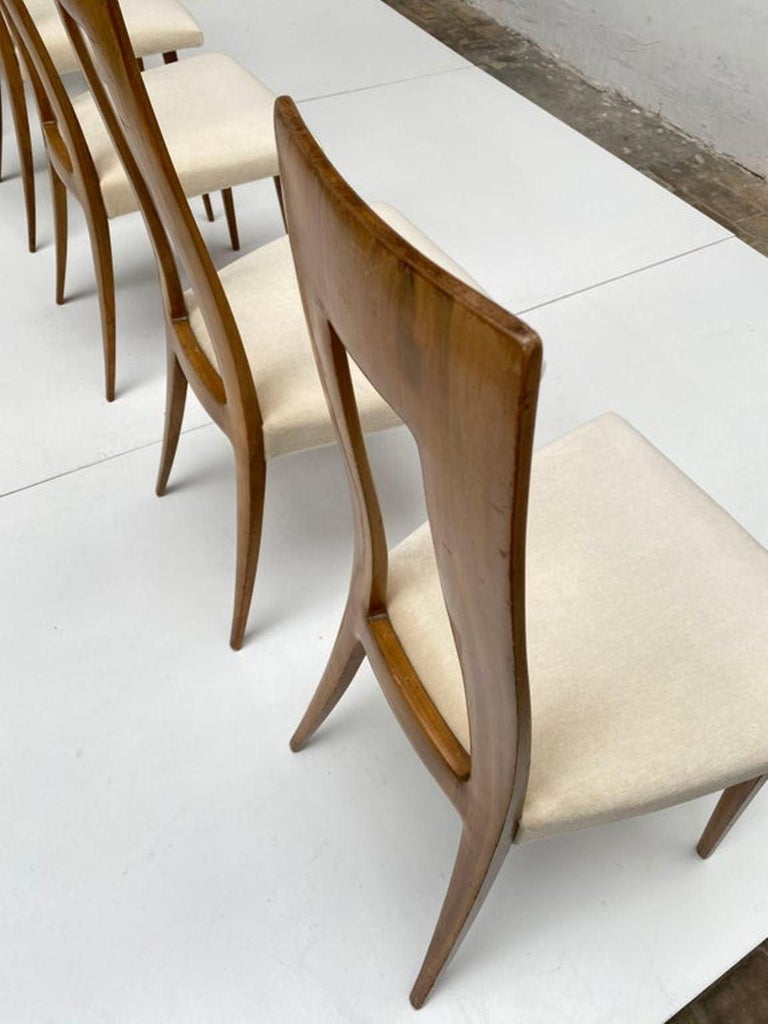 Six Sculptural Form 'Turin School' Walnut & Mohair Dining Chairs, Italy, 1940's For Sale 1
