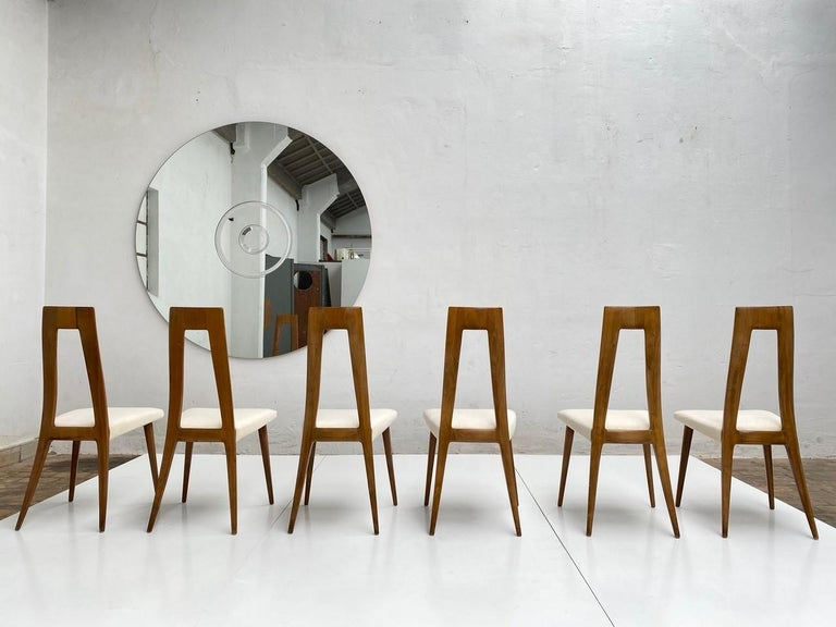 Six Sculptural Form 'Turin School' Walnut & Mohair Dining Chairs, Italy, 1940's For Sale 2