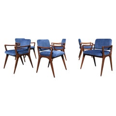 Six Sculptural Walnut Dining Chairs in the Style of Gio Ponti