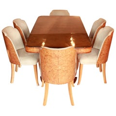 Six-Seat Art Deco Epstein Dining Suite with Six Upholstered Cloud Back Chairs