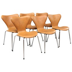 Six Seven Chairs by Arne Jacobsen Model 3107 with Leather, 1980