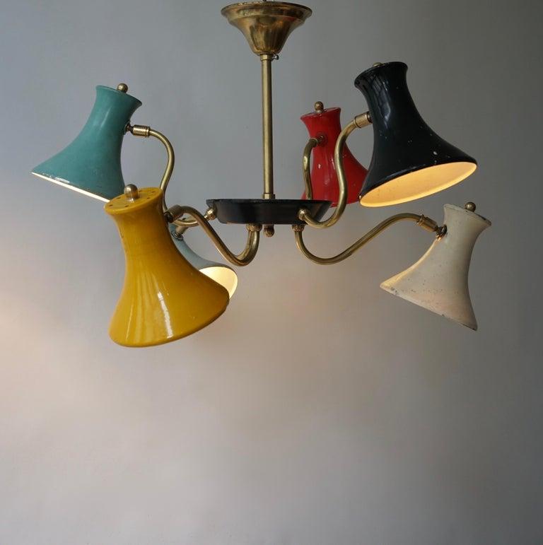 Mid-Century Modern Six-Shade Pendant Light, Italy, 1950s For Sale