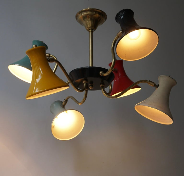 Italian Six-Shade Pendant Light, Italy, 1950s For Sale
